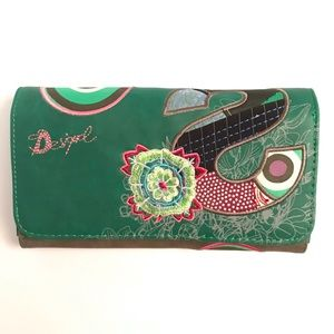 Desigual Embroidered Foldover Wallet